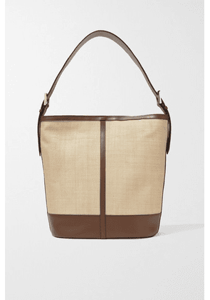 Hunting Season - Leather-trimmed Woven Fique Tote - Beige