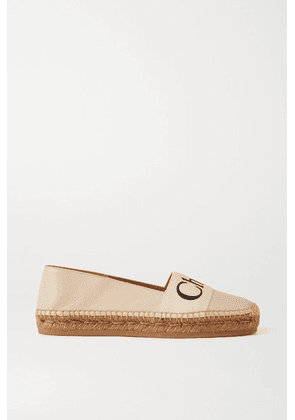 Chloé - Woody Leather And Logo-print Cotton-canvas Espadrilles - White