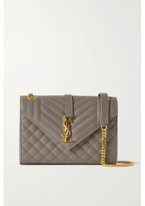 SAINT LAURENT - Envelope Medium Quilted Textured-leather Shoulder Bag - Gray