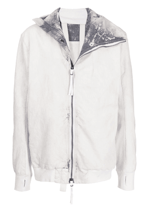 Boris Bidjan Saberi hooded zip-up cotton jacket - Grey