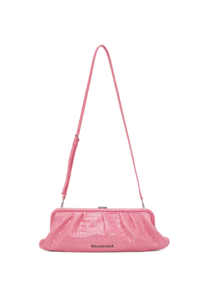 Balenciaga Pink Croc XL Cloud Clutch
