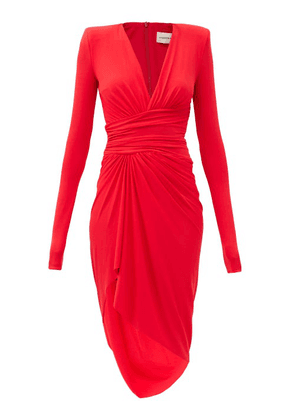 Alexandre Vauthier - Plunge-neck Gathered Jersey Mini Dress - Womens - Red