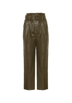 High-rise faux-leather straight pants