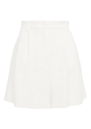 Dolce & Gabbana Pleated Cotton-blend Floral-jacquard Shorts Woman White Size 44