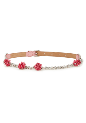 Dolce & Gabbana Embellished Chain And Lizard-effect Leather Belt Woman Baby pink Size S
