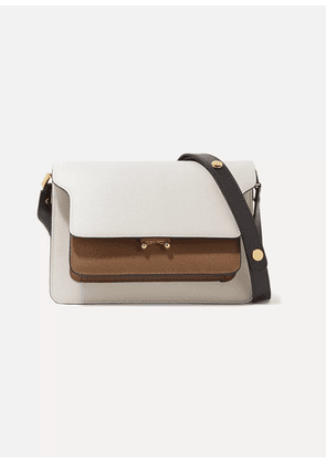 Marni - Trunk Medium Color-block Textured-leather Shoulder Bag - White