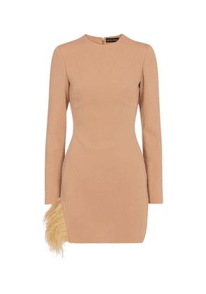 Exclusive to Mytheresa – Feather-trimmed cady minidress
