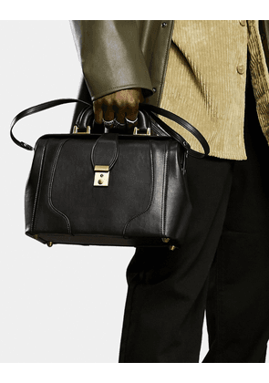 ASOS DESIGN holdall doctors bag in black faux leather and gold trims