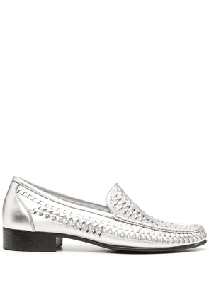 Saint Laurent interwoven low-heel loafers - Silver