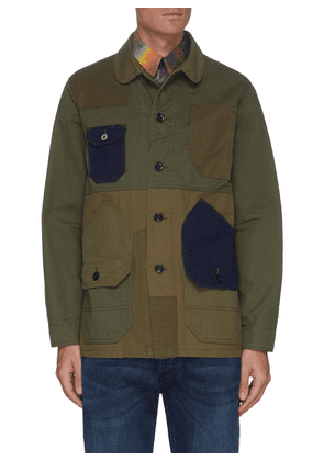Multi Fabric Patchwork Button Up Jacket