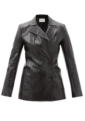 Stand Studio - Emerina Double-breasted Faux-leather Blazer - Womens - Black