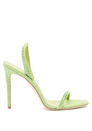 Paris Texas - Holly Crystal-embellished Suede Sandals - Womens - Green
