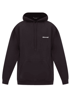 Balenciaga - Logo-embroidered Cotton-jersey Hooded Sweatshirt - Mens - Black
