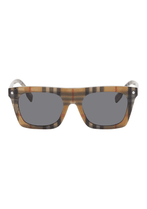 Burberry Beige Vintage Check Rectangular Frame Sunglasses