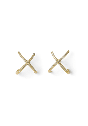The Alkemistry The Alkemistry 18ct Yellow Gold And Diamond Crossover Earrings (pair)