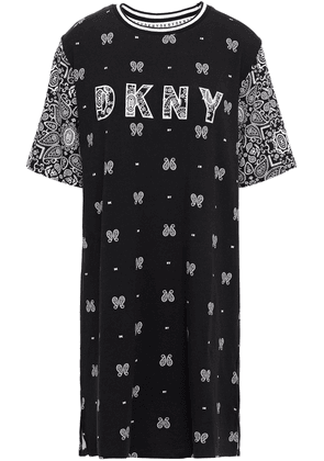 Dkny Vintage Fresh Embroidered Printed Cotton-blend Jersey Nightshirt Woman Black Size XS