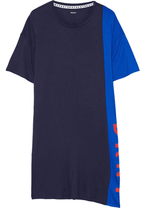 Dkny New York Energy Printed Two-tone Stretch-jersey Nightshirt Woman Navy Size XS