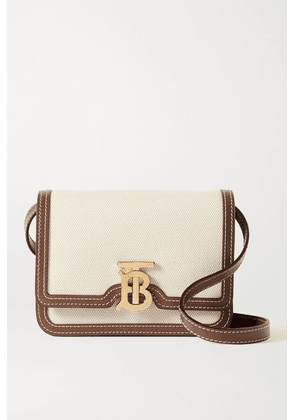 Burberry - Mini Leather-trimmed Canvas Shoulder Bag - Brown