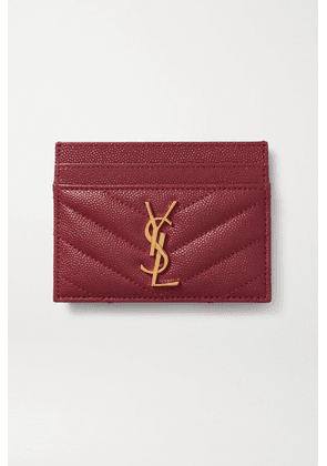 SAINT LAURENT - Monogramme Quilted Textured-leather Cardholder - Burgundy