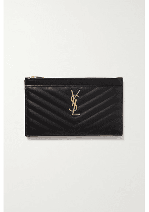 SAINT LAURENT - Monogram Quilted Textured-leather Pouch - Black