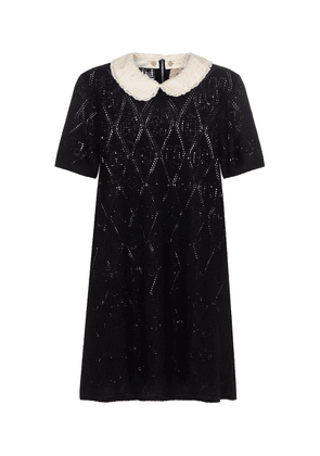Sequined pointelle-knit wool minidress