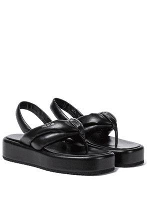 Padded leather platform sandals