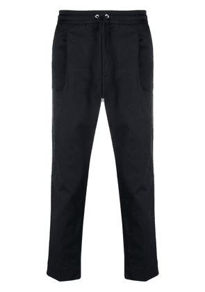 Moncler cropped drawstring trousers - Blue