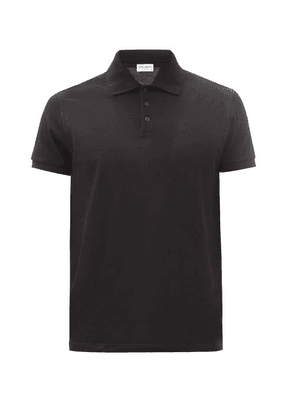 Saint Laurent - Ysl-embroidered Cotton-piqué Polo Shirt - Mens - Black