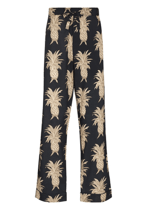 Desmond & Dempsey pineapple cotton pajama trousers - Blue