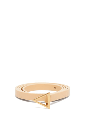 Bottega Veneta - Triangle-buckle Leather Belt - Womens - Beige Gold