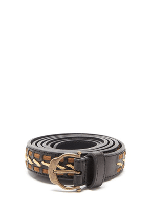 Saint Laurent - Horseshoe-buckle Woven-leather Belt - Mens - Black Brown