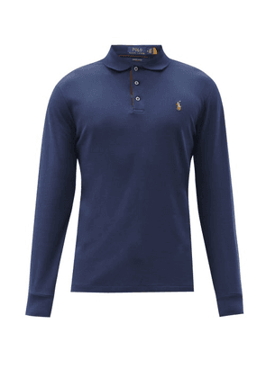 Polo Ralph Lauren - Custom Slim-fit Cotton Long-sleeved Polo Shirt - Mens - Navy