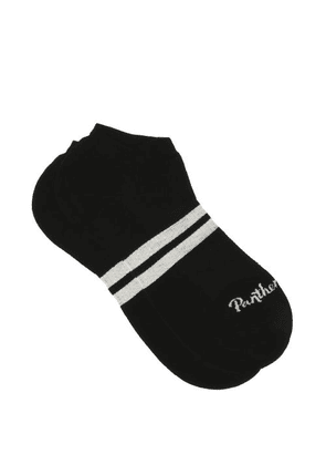Pantherella - Sprint Striped Egyptian Cotton-blend Trainer Socks - Mens - Black