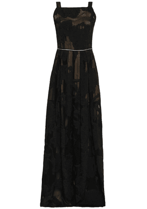 Amanda Wakeley Metallic-trimmed Pleated Fil Coupé Gown Woman Black Size 12