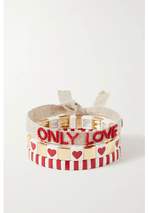 Roxanne Assoulin - Only Love Set Of Three Enamel, Gold-tone And Canvas Bracelets - Red