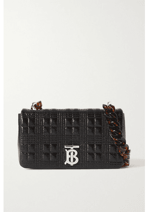 Burberry - Small Quilted Glossed-leather And Tortoiseshell Resin Shoulder Bag - Black