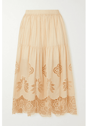 See By Chloé - Pintucked Broderie Anglaise Cotton-voile Midi Skirt - Cream