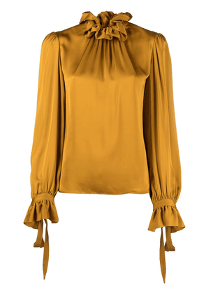 Saint Laurent ruffle collar satin blouse - Neutrals