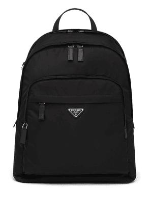 Prada Re-Nylon logo zipped backpack - Black