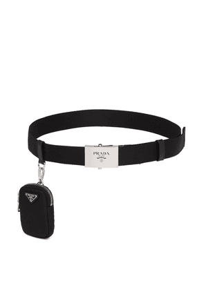 Prada pouch detail logo belt - Black