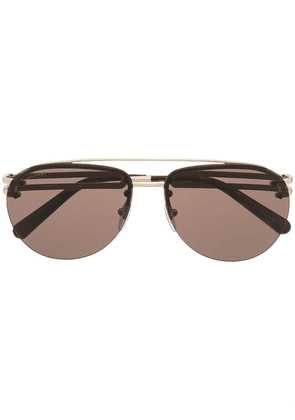 Bvlgari double-bridge aviator-frame sunglasses - Brown