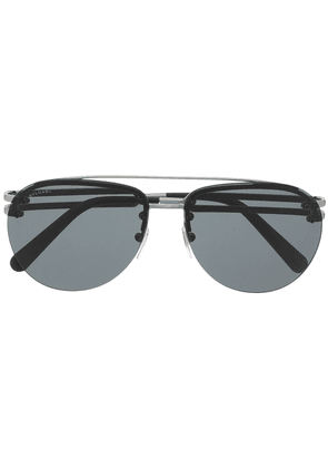 Bvlgari double-bridge aviator-frame sunglasses - Black
