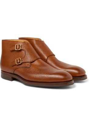 GEORGE CLEVERLEY - Pebble-Grain Leather Monk-Strap Boots - Men - Brown - UK 6