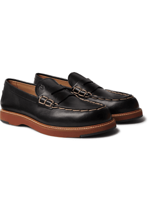 TOD'S - Contrast-Stitched Leather Loafers - Men - Black