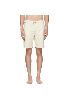 Solid and Striped Off-White Piped Board Shorts