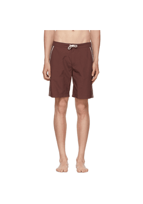 Solid and Striped Burgundy Piped Board Shorts