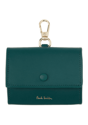 Paul Smith Blue Leather Clip-On Coin Pouch Keychain