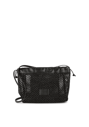 Low Classic Black Raffia And Leather Cross-body Bag