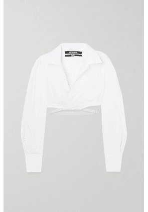 Jacquemus - Laurier Cropped Buckled Cotton Shirt - White