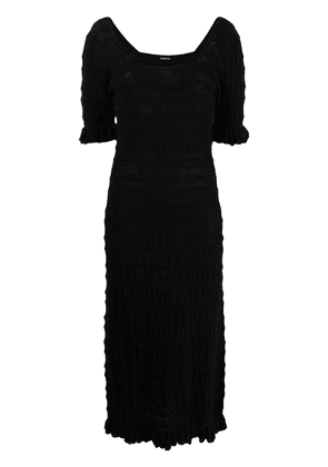 Adam Lippes ribbed ruffle-trimmed cotton dress - Black